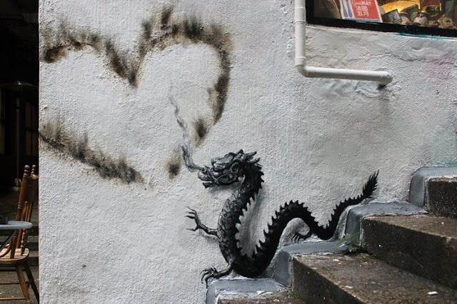 """Tagger"" a new street piece by Pejac in Hong-Kong"