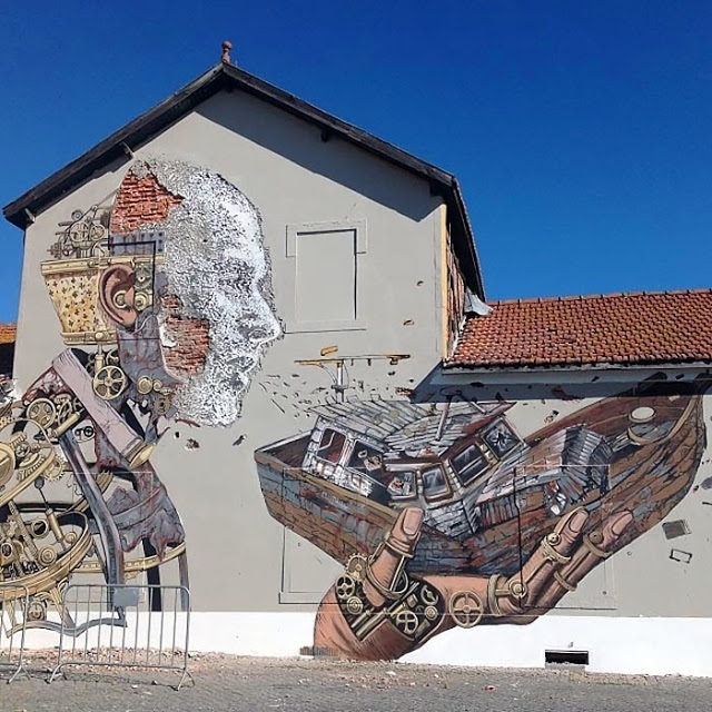 Vhils x Pixel Pancho New Mural - Lisbon, Portugal