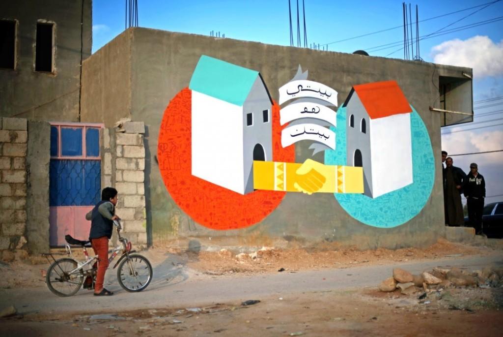 "Ruben Sanchez ""Mi Casa Es Tu Casa"" New Mural – Za'atari, Jordan"