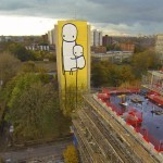 "Stik paints ""Big Mother"" the tallest mural in the UK to highlight affordable housing issues"