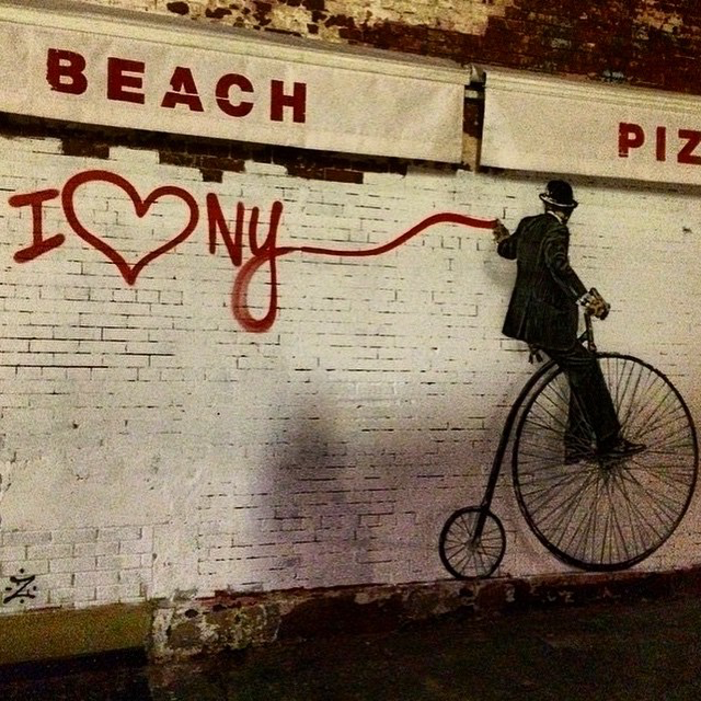 "Nick Walker ""Penny Farthing Vandal"", a new stencil on the streets of New York City"