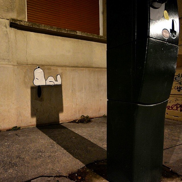 "OakOak creates ""Snoopy"", a new street piece in Saint-Etienne, France"