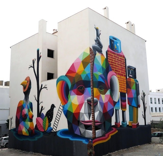 """Universos Paralelos"", a new mural by Okuda in Ibiza, Spain"