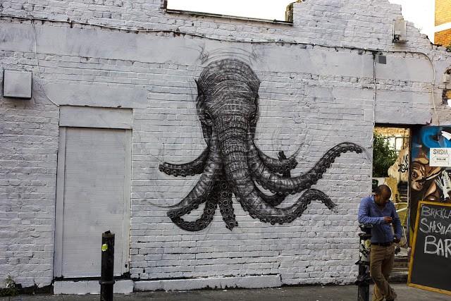 Alexis Diaz New Mural In Progress, London, UK