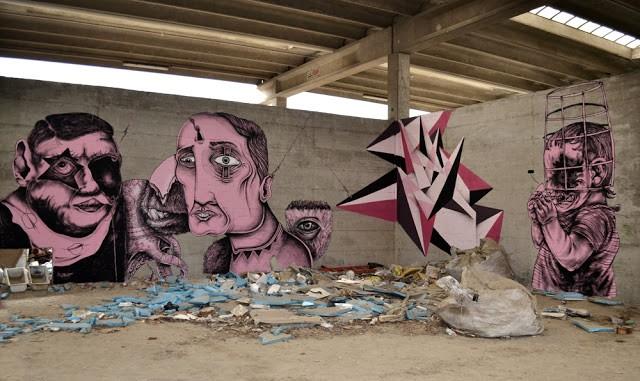 Centina x Kraser x SeaCreative x Vine x James Kalinda New Mural In Milan, Italy
