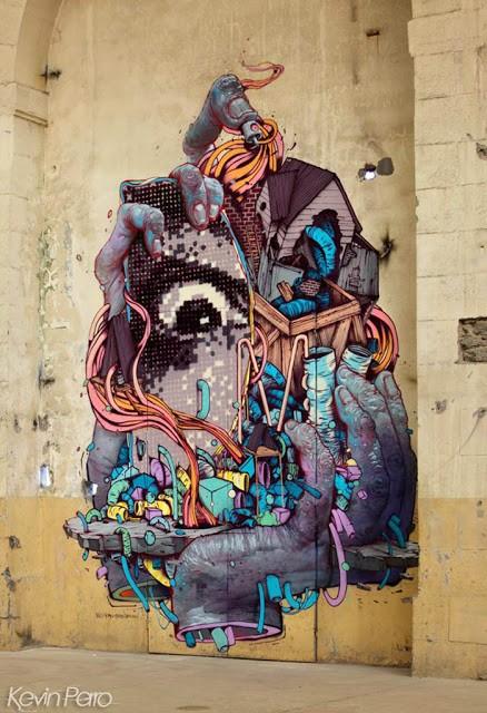 Bom.K x Blo x Kan x Gris1 (Da Mental Vaporz) New Mural In Brest, France