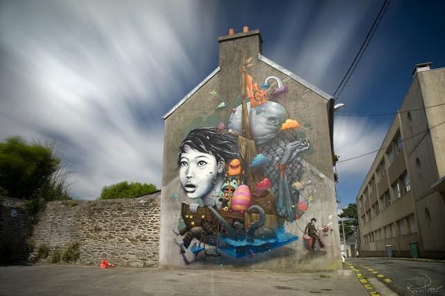 Bom.K x Liliwenn New Mural In Brest, France