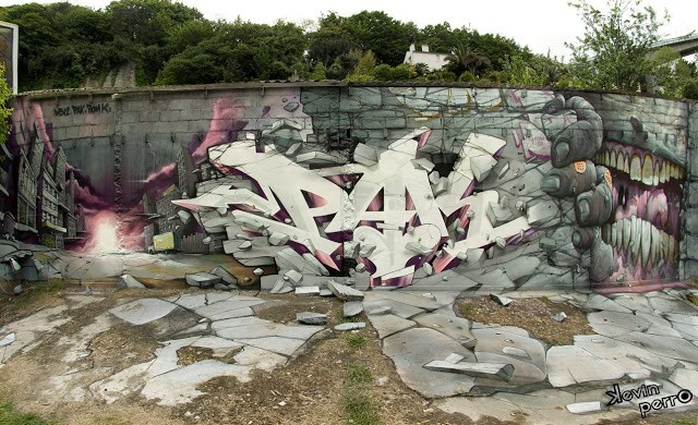 Bom.K x Pakone x Wen2 New Mural In Brest, France