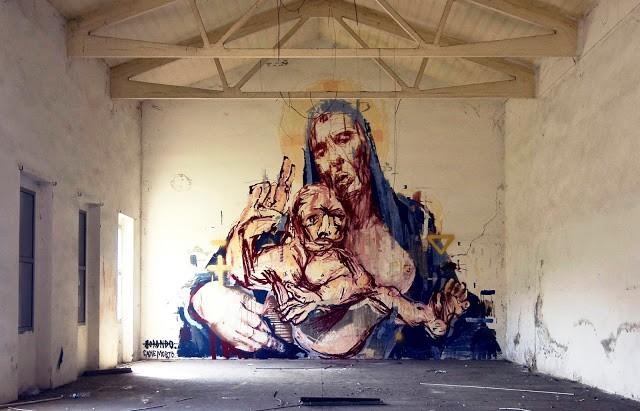 Borondo x Cane Morto New Mural In Bologna, Italy