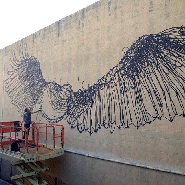 DALeast New Mural In Progress, Honolulu, Hawaii