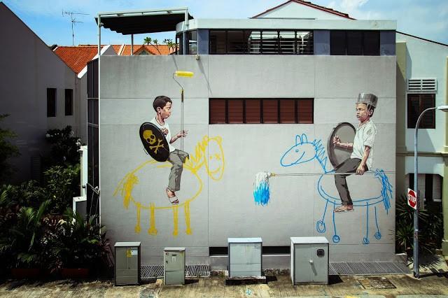 Ernest Zacharevic New Street Pieces - Singapore City (Part II)