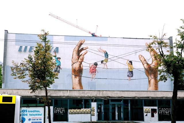 Ernest Zacharevic New Mural In Vilnius, Lithuania