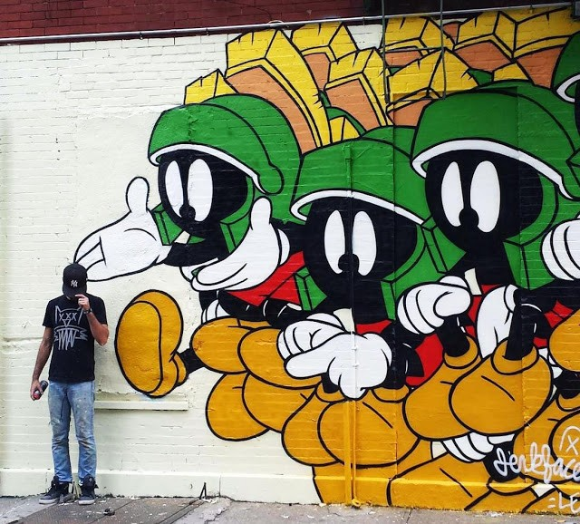 """Marvin The Martian"", a new mural by Jerkface in the Lower East Side, NYC"
