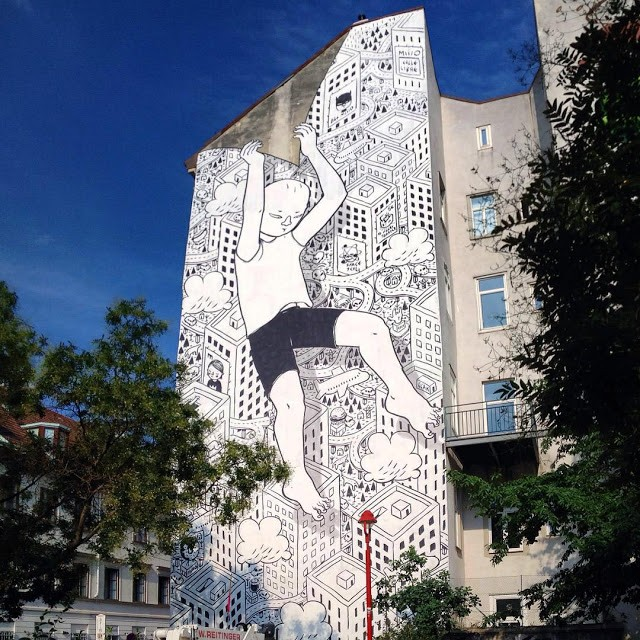 """Unsticker"", a new mural by Millo in Vienna, Austria"