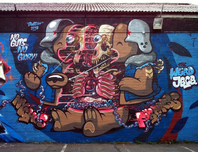 """Nychos x Flying Fortress """"No Guts No Glory"""" New Mural In Dublin, Ireland"""