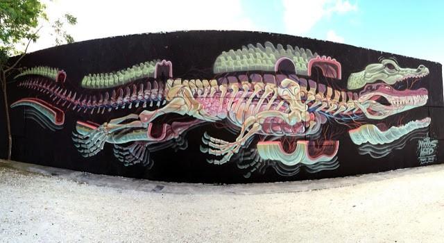 "Nychos ""Dissection Of An Alligator"" New Street Piece - Wynwood, Miami"