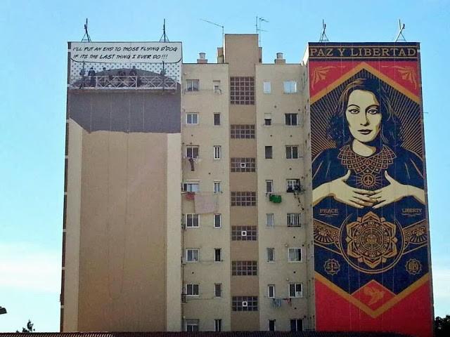"Shepard Fairey ""Paz Y Libertad"" New Mural For Maus Malaga – Spain"
