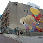 Os Gemeos x Aryz New Mural In Progress, Lodz, Poland