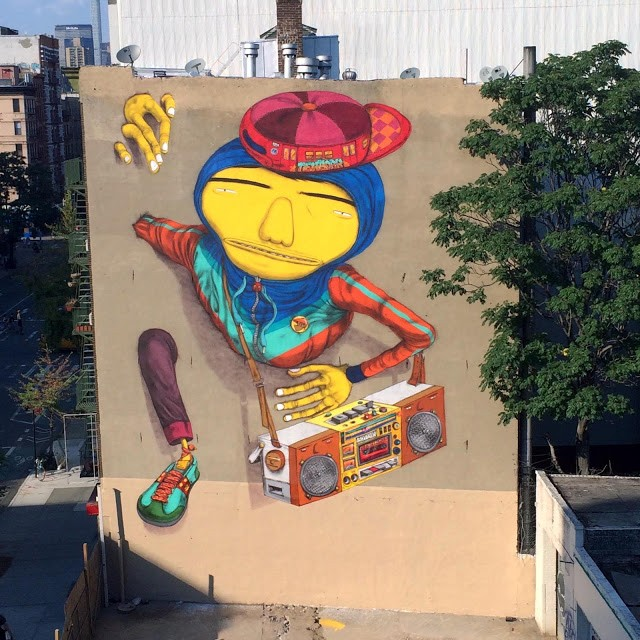 Os Gemeos unveils a giant old school NYC B-Boyz in New York City