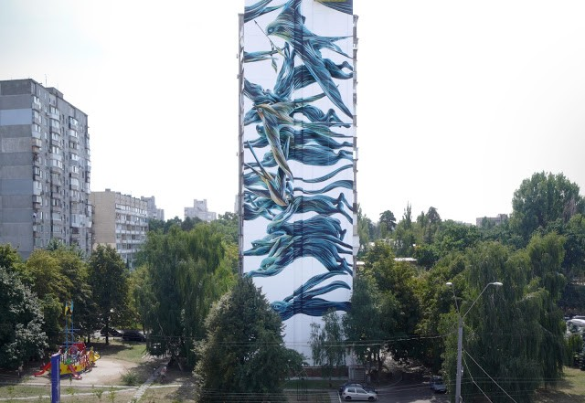 Pantonio creates a massive mural in Kiev, Ukraine