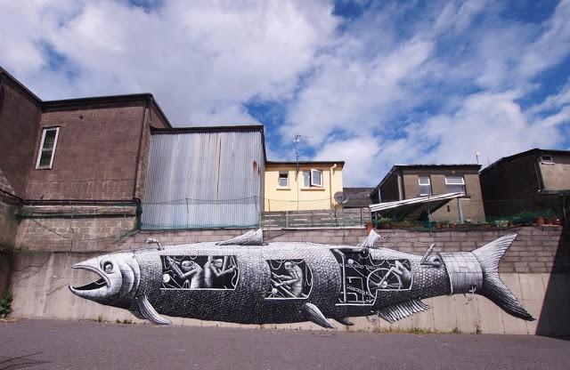 Phlegm New Murals In Bantry, Ireland