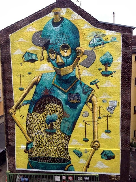 "Pixel Pancho ""Rusted Ideas"" New Street Art In Dusseldorf, Germany"