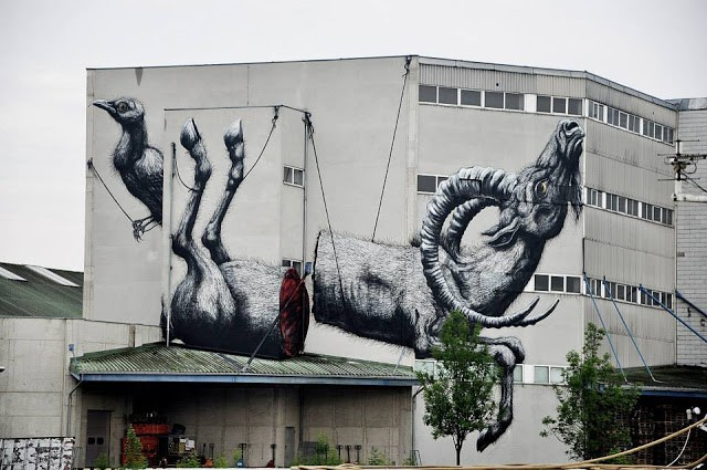 ROA New Mural In Linz, Austria