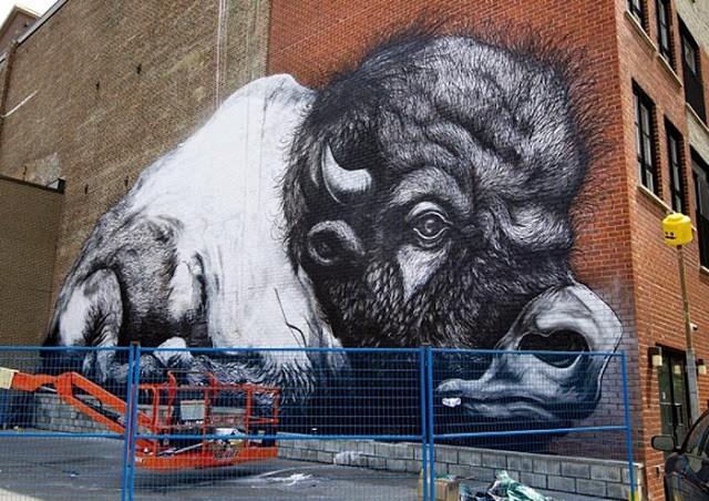 ROA New Mural In Progress, Montreal, Canada