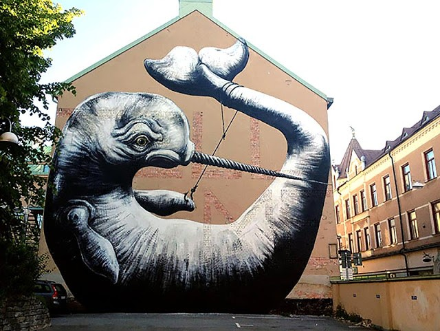 ROA New Mural In Örebro, Sweden