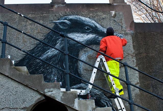 ROA New Mural In Botkyrka, Sweden