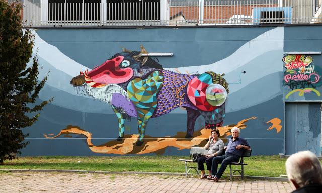 Rojo Roma New Mural In Turin, Italy