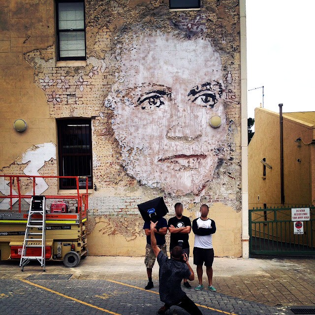 Vhils new mural in fremantle australia streetartnews for Australian mural