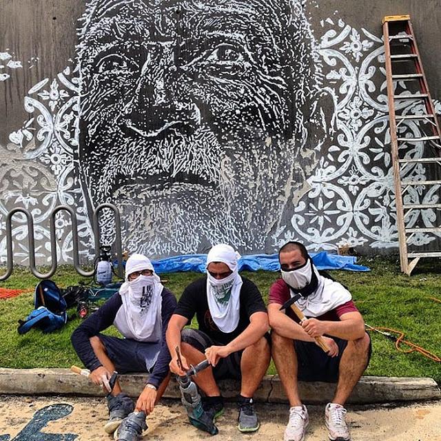 Vhils New Mural In Progress, San Juan, Puerto Rico