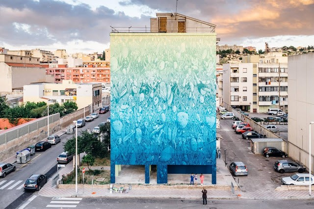 Tellas' latest mural in Cagliari, Italy