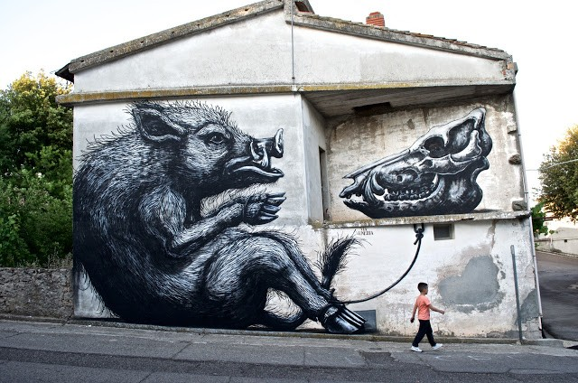 ROA creates a new piece in Sadali, Sardinia