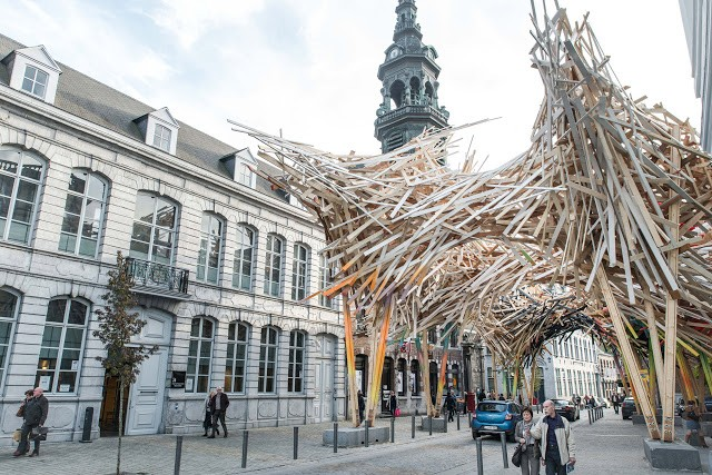 "Arne Quinze creates ""The Passenger"", a massive street installation in Mons, Belgium"
