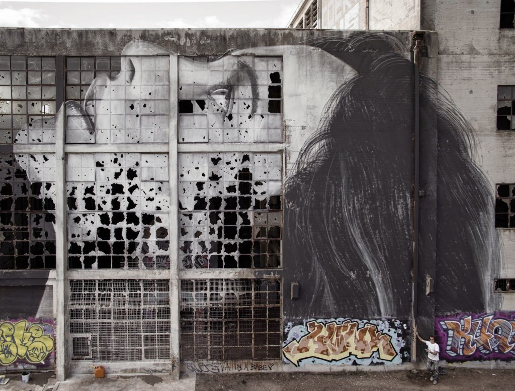 "RONE paints ""Broken Window Theory"", a beautiful portrait in Geelong, Australia"
