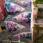 Alice Pasquini paints a new piece in Salerno, Italy