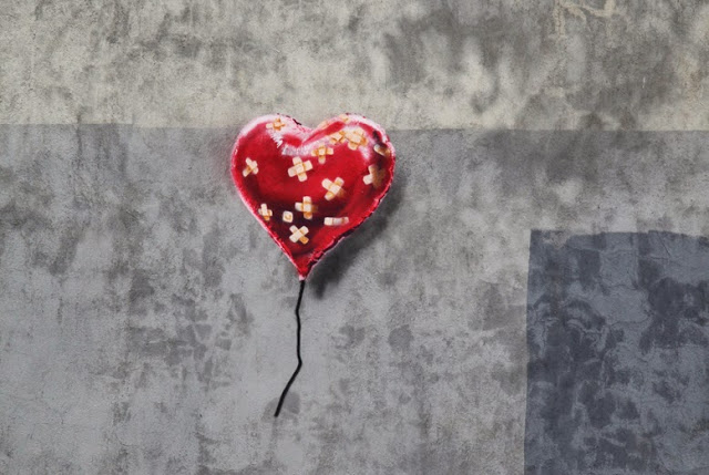 """Banksy """"Heart Balloon"""" New Stencil For Better Out Than In - Brooklyn"""