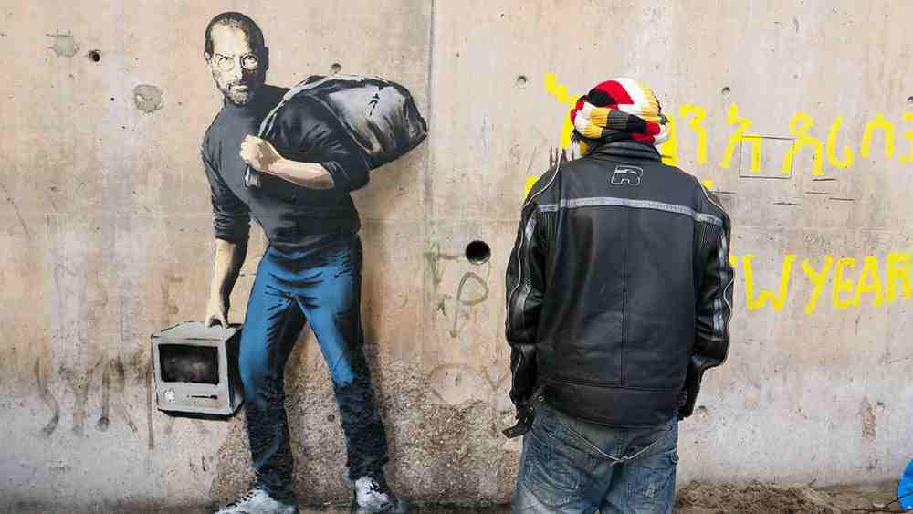 Banksy creates new pieces in Calais, France