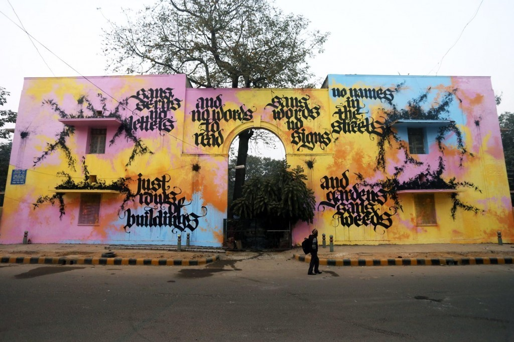 "St+Art India: ""Graffiti Are The Weeds Of Art"" by Shoe in New Delhi"