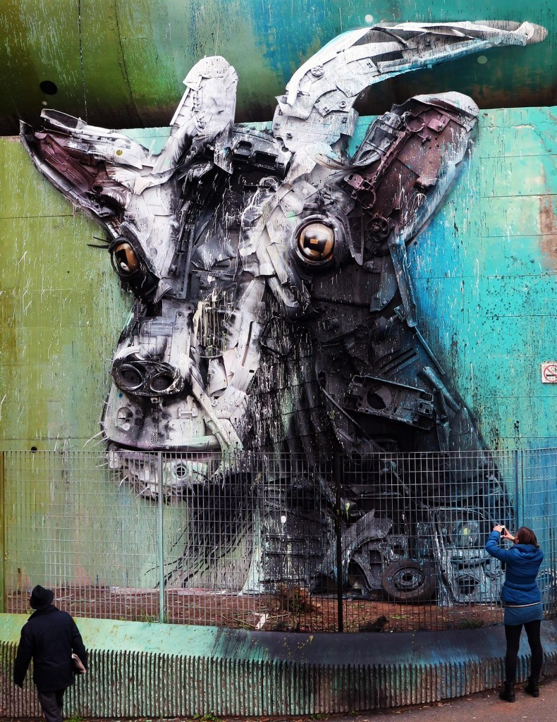 """Uma Cabra"" by Bordalo II in Rome, Italy"