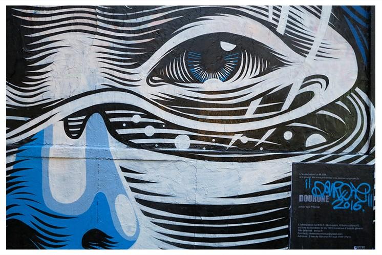 Dourone paints Le Mur in Paris, France