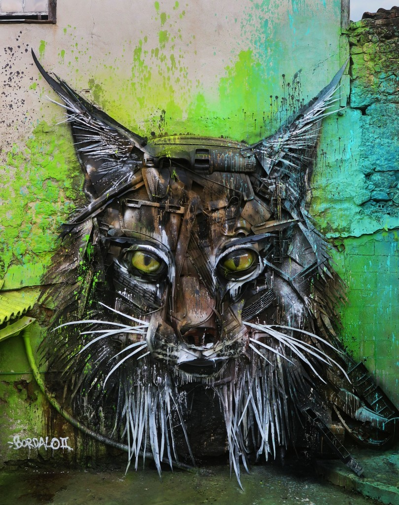 """Lynx"" an installation by Bordalo II in Viseu, Portugal"