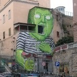 """Green Giant"" by Blu in Napoli, Italy"