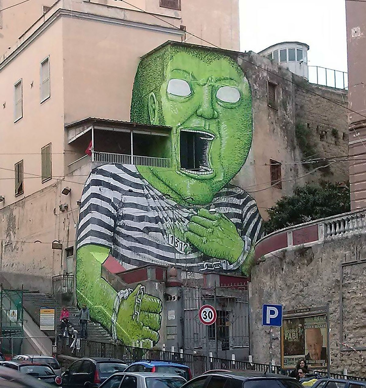 Green giant by blu in napoli italy streetartnews for Green italy