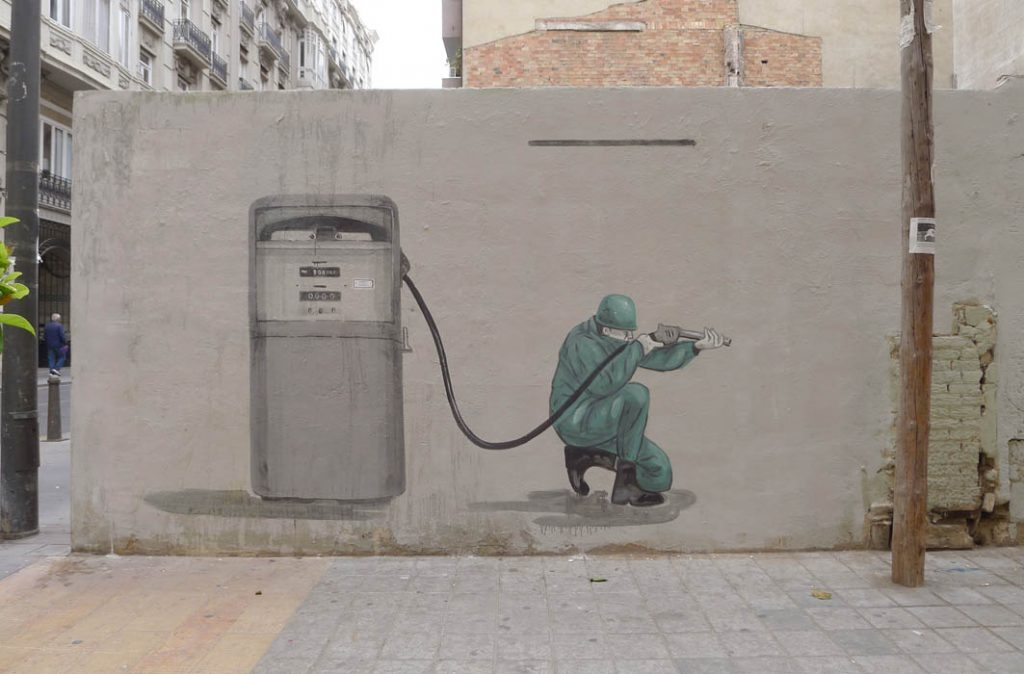 """Blood For Oil"" by Escif in Valencia"