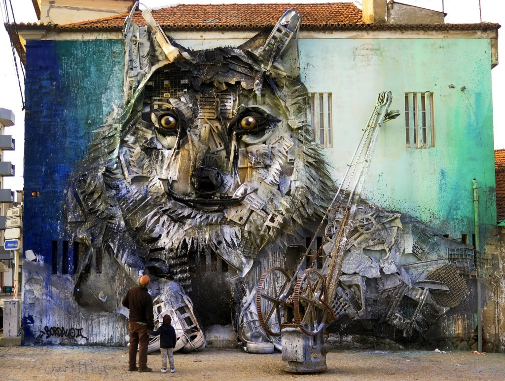"""Wolf"" Street Installation by Bordalo II in Fundão, Portugal"