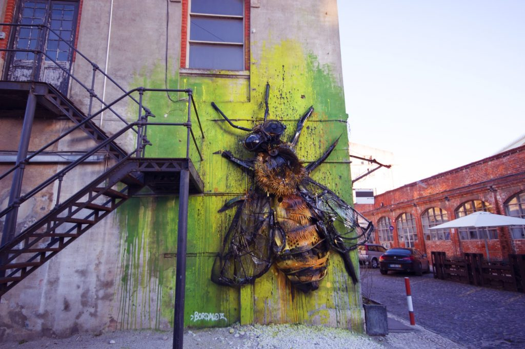"""Bee"" Installation by Bordalo II in Lisbon, Portugal"