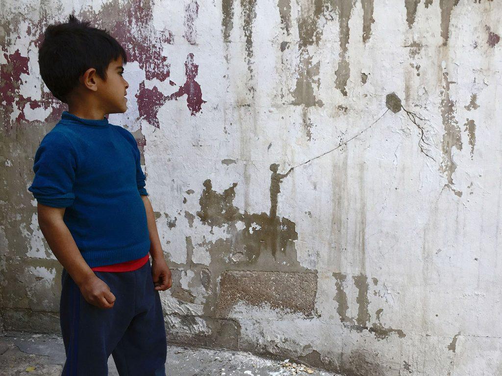 Pejac in Al-Hussein, a Palestinian refugee camp in Amman, Jordan